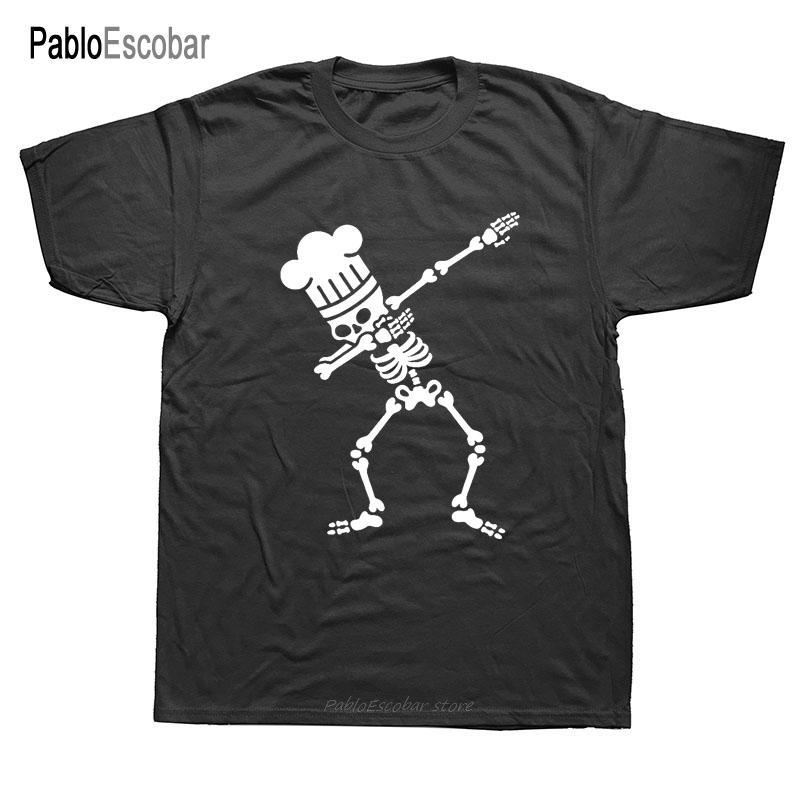 Komik Dab dabbing İskelet barbekü şef Grafik T Shirt Erkekler Yaz Pamuk Harajuku Artı boyutu Ç Boyun Streetwear Hip Hop Tişört
