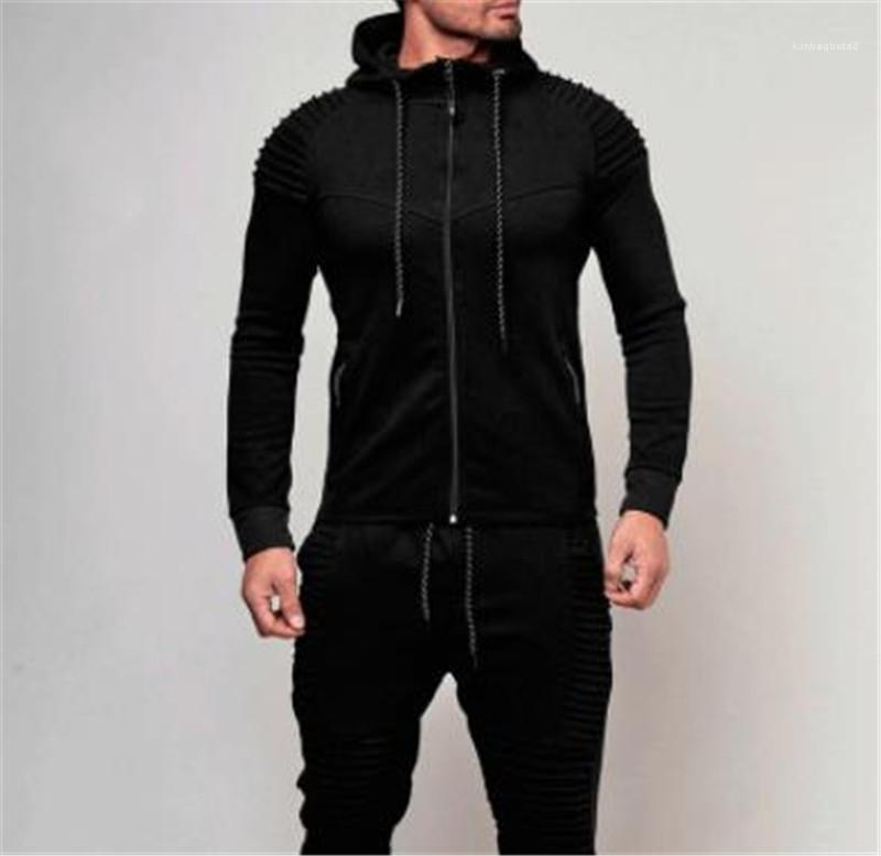 With Zipper Solid Color Hooded Stripe Cardigan Mens Sportswear Sports Fitness Long Sleeve Hooded Loose Mens Sweatshirts