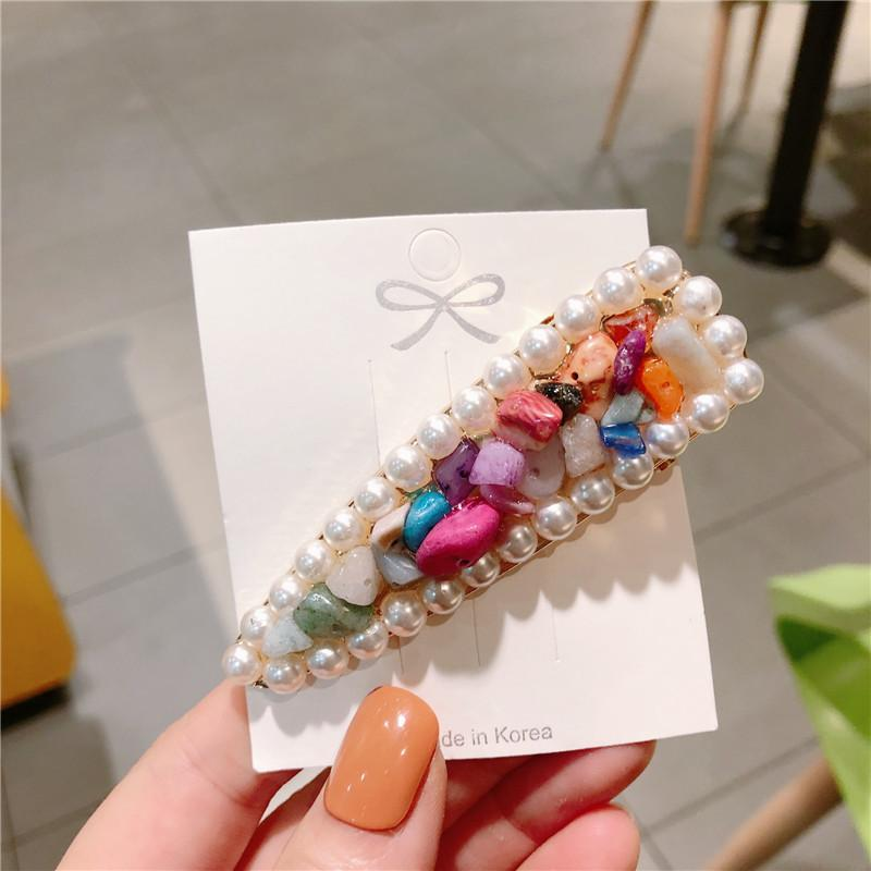 Korea Style Girl Hair Pins Simple Geometric Stone Imitation Pearl Hair Clips for Women Fashion Accessories