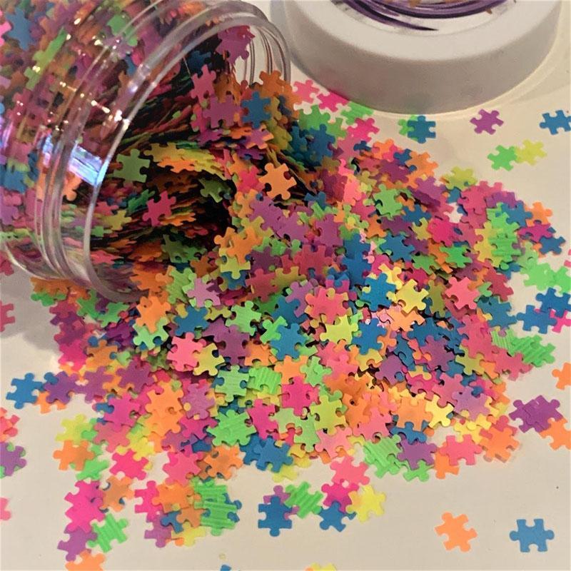 50G Puzzle Glitter Confetti Metallic Puzzle Pieces Glitter Autisme pièce