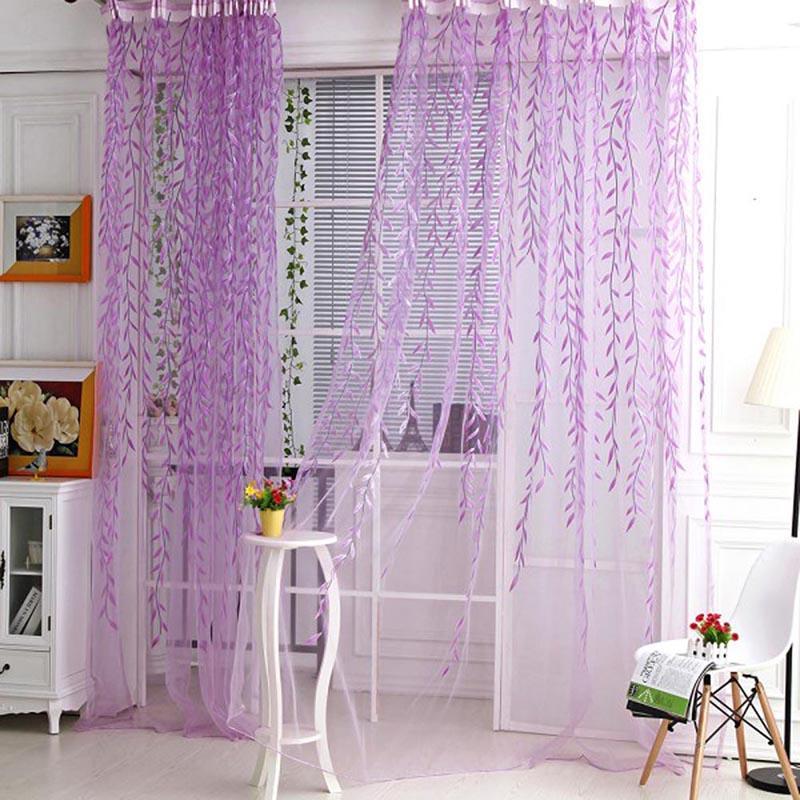 Пряжа качества занавес шарф Sheer дверь спальни Номер Тюль Гардина Drape Домашний текстиль