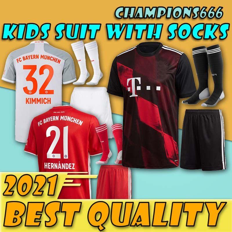 Nouveau!!!!!! Bayern Munich maillots de football pour les enfants 20/21 kids kit complet LEWANDOWSKI MULLER Perisic 2020 GÖTZE 2021 Les uniformes des garçons avec des chaussettes