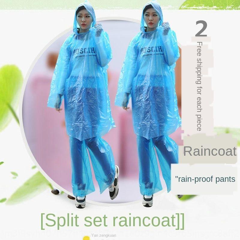 Взрослая одноразовые плащ пуловеры костюм плащ и дождь брюки утолщенной одноразовой раскол пуловер плащ пончо мода