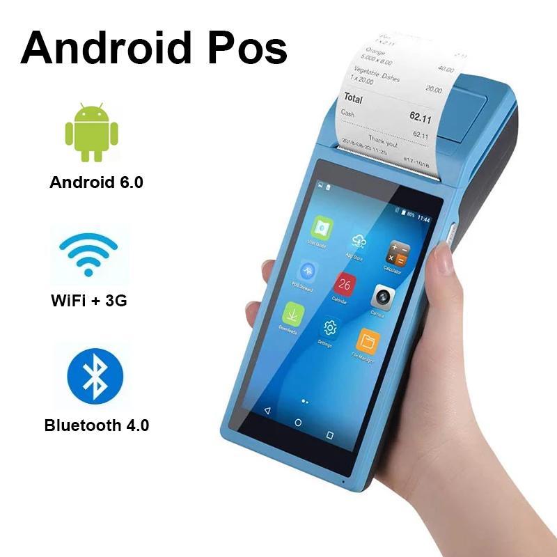Android6.0 واي فاي 3G محطة PDA بلوتوث الماسح الضوئي مع الحرارية 58mm وطابعة القارئ الأجهزة اللاسلكية المحمولة موبايل الباركود