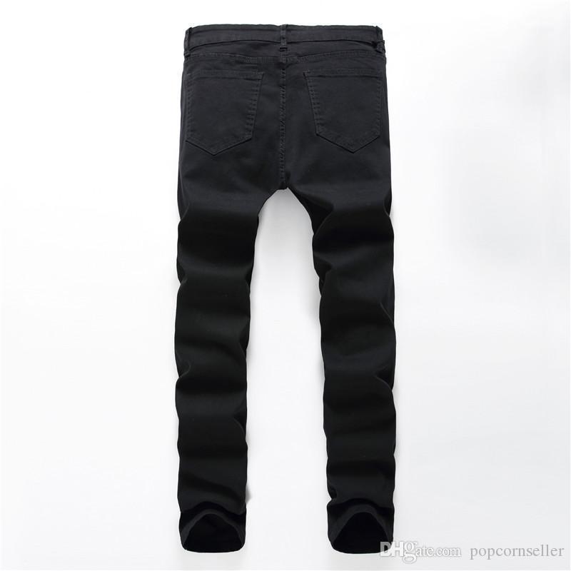 Blanco lápiz de los pantalones cremallera Casual para hombre del lazo del bolsillo machos regular ropa con paneles Jeans Nuevo diseñador de moda