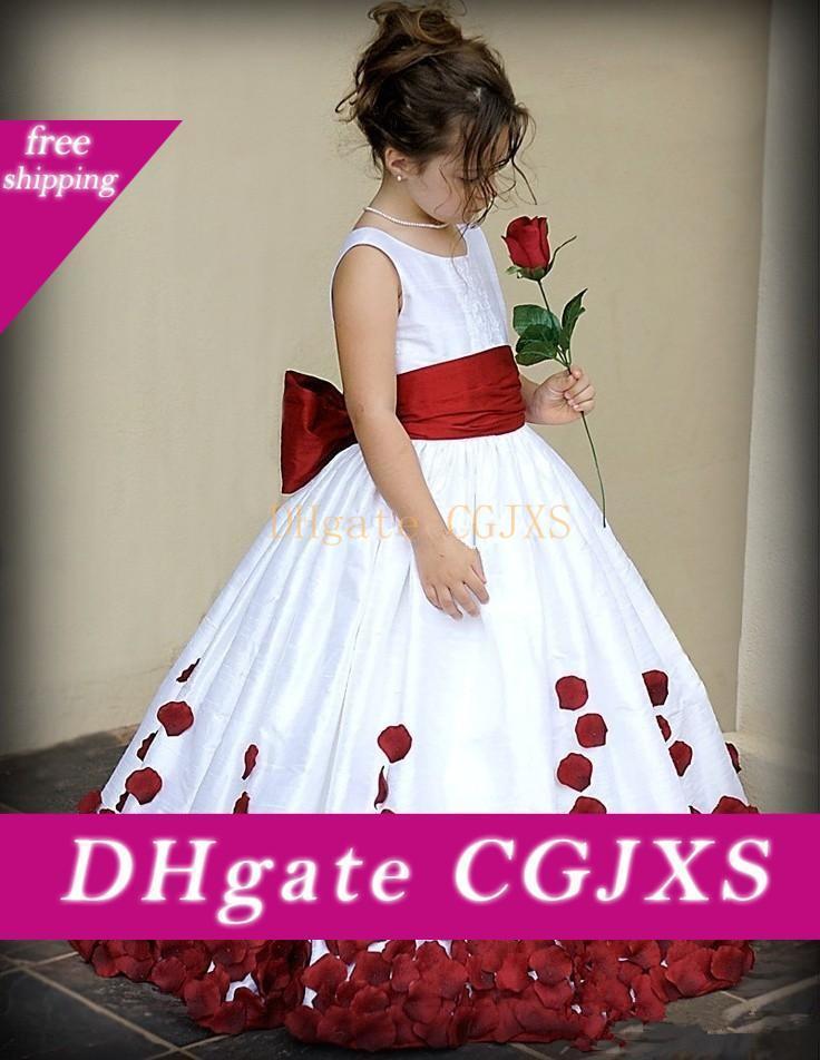 2020 di lunghezza del pavimento delle ragazze di fiore veste vino rosso bianco bambina spettacolo Compleanno abiti prima comunione abiti partito