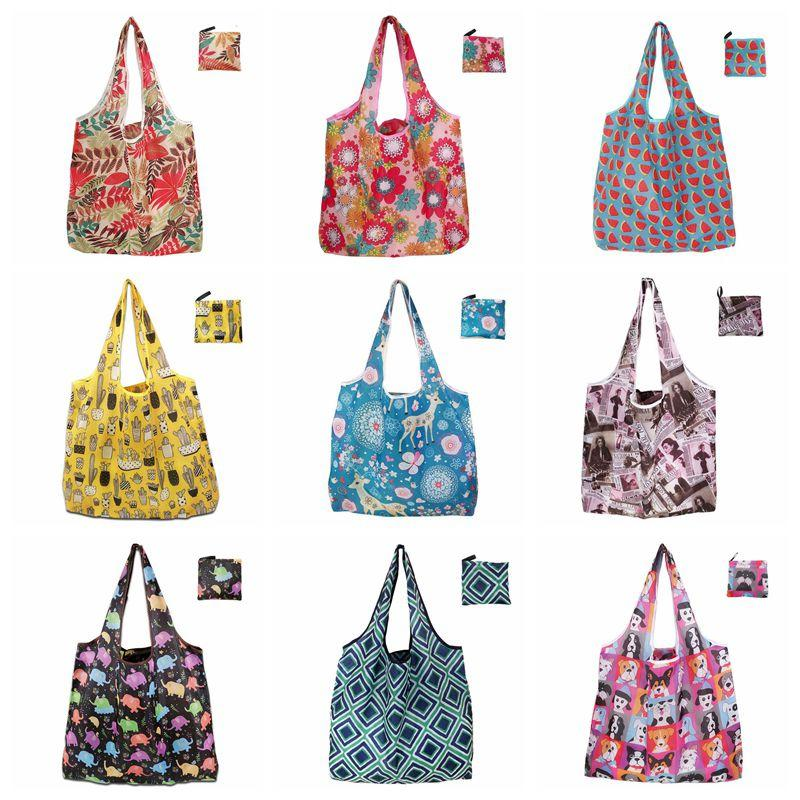 Foldable Polyester Eco-friendly Handbags Portable Large Capacity Reusable Shopping Grocery Tote Bags Advertising Gift Hand- held Bag VT1547