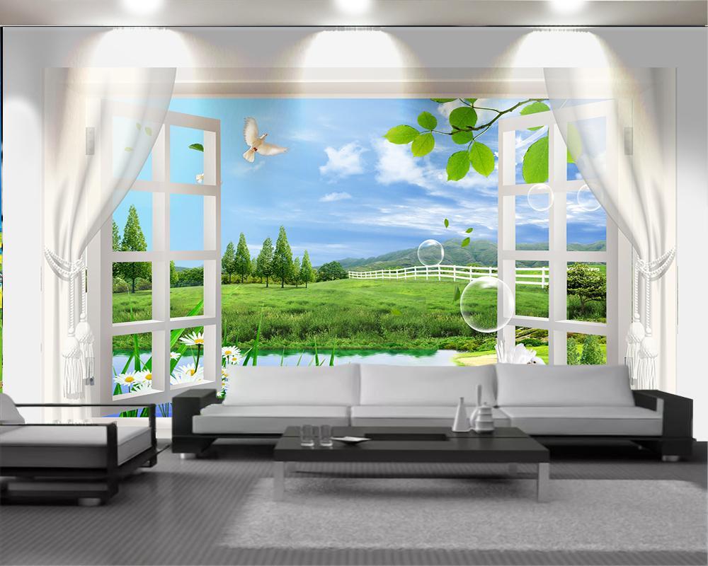 3d Schlafzimmer Tapete Romantische Landschaft 3d Mural sonic, schöne Fenster und schöne Landschaft HD-Superior-Innendekoration Tapeten