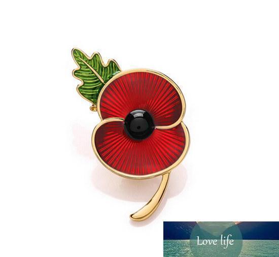 """Al por mayor 2"""" tono rojo del oro del esmalte de la broche de flor de la amapola RBL Pin con el recuerdo de la hoja para el regalo de Día del Recuerdo"""