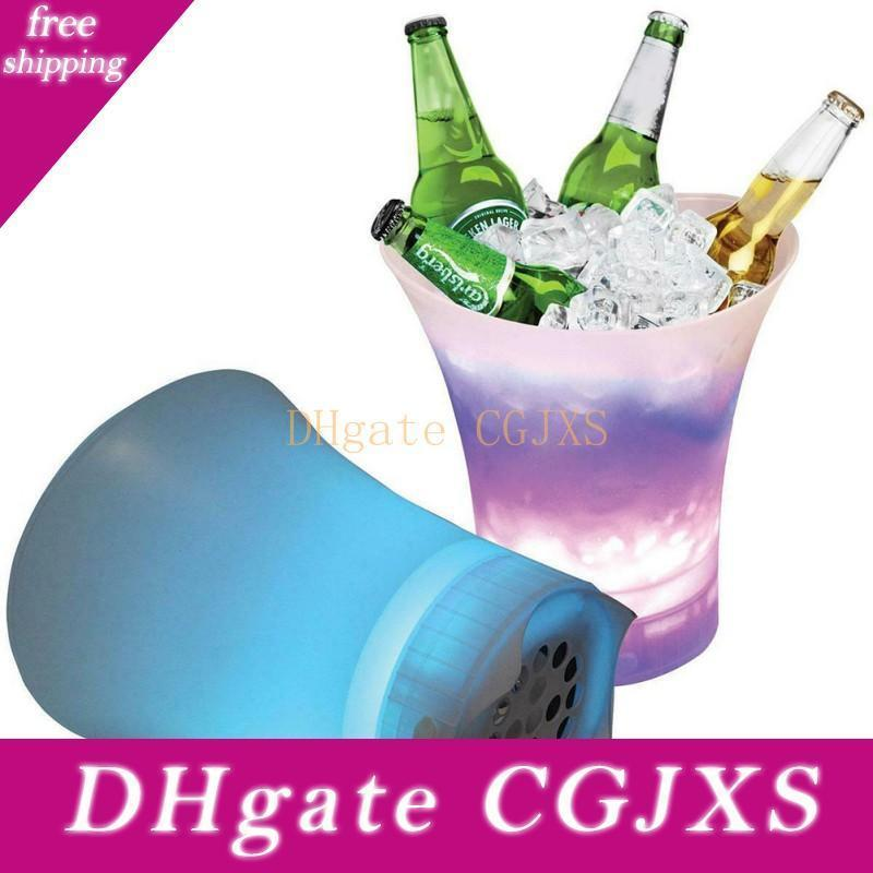 Led Audio Ice Bucket 7 Colorful gradiente plastica luminosa champagne Drink Ice Bucket Famiglia festa di nozze Bluetooth Speaker