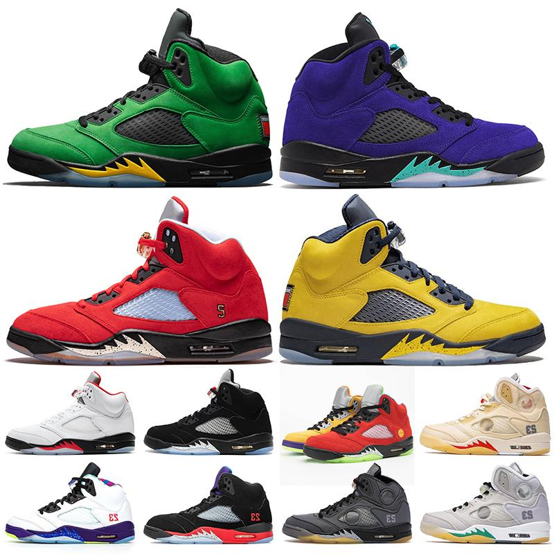nike air retro jordan 5 off white 5 5s Großhandel 2020 Damen Herren-Basketball-Schuhe Top-Qualität Jumpman 5 Alternate Grape 5s Oregon Was die Turnschuhe