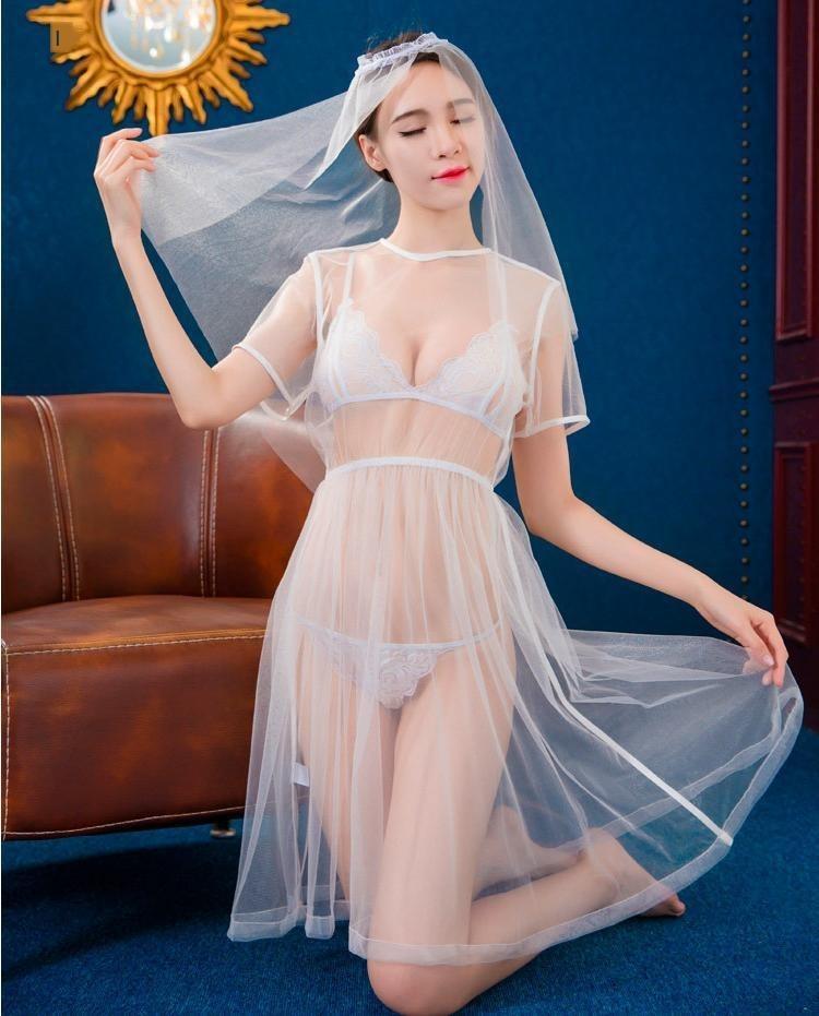 ESOhw Unterwäsche der Frauen reizvolle transparente Spitzekleid Hochzeit Unterwäsche Braut Spitze Brautkleid konstante Versuchung Rollenspiel