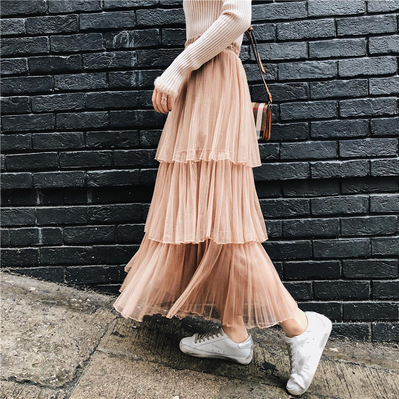 2020 Torta Torta larga nueva alta cintura mitad de la longitud plisada gasa A-Line de hadas de la falda larga
