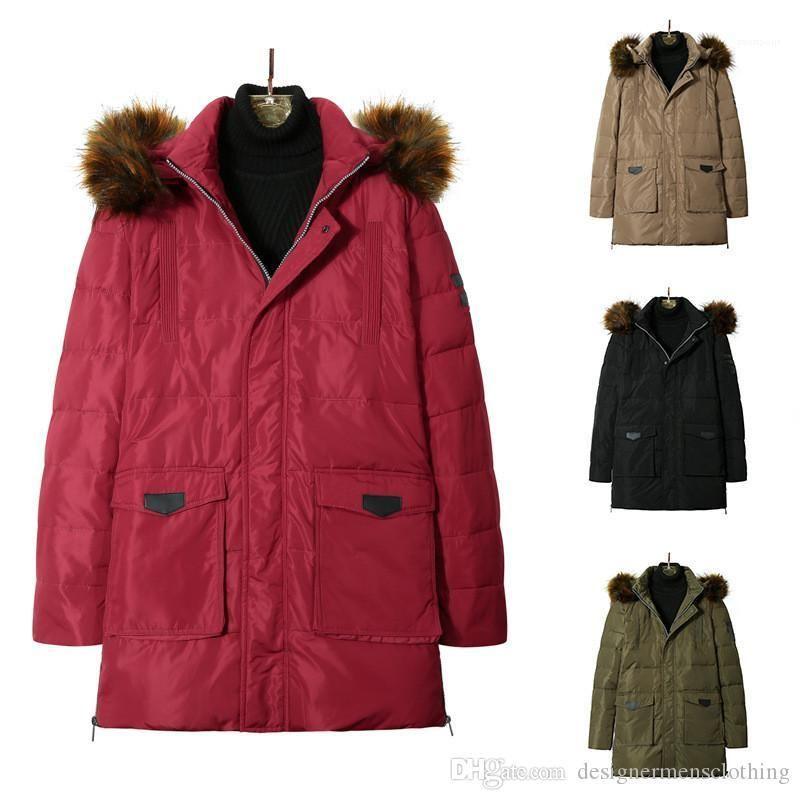 Пальто Сыпучие с длинным рукавом с капюшоном подростковая Толстые ветровки Куртки Повседневный Long Мужской Верхняя одежда Mens Designer Winter