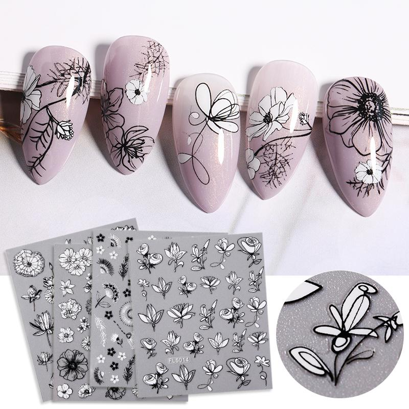 Eco-friendlyBlack White Flower Leaves Sliders 3D Nail Sticker Geometric Self-Adhesive Nail Transfer Sticker Decals DIY Nail Art Decoration