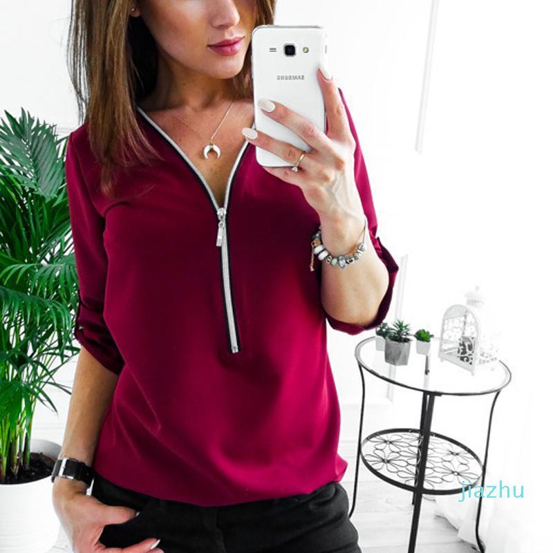 Venta caliente de la cremallera de manga corta camisas de las mujeres V del cuello atractivo para mujer Solid Tops y Blusas Casual Tee Shirts Tops ropa femenina más el tamaño 5XL