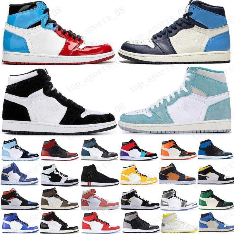 جديد كرة السلة أحذية Jumpman 1 1S OG العليا جرين باين اسود المحكمة الأرجواني الملكي تو ولدت NC حجر السج UNC أحذية رياضية لعبة كرة السلة المدربين