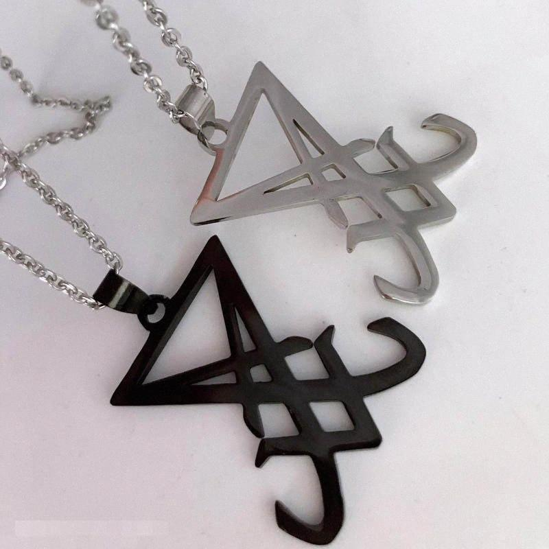 Colgante, collar de la plata del negro de Sigil de Lucifer a Satanás por sistema satánico Hombres Emblema amuleto Inscripción medallón collares joyería masculina wjUR #