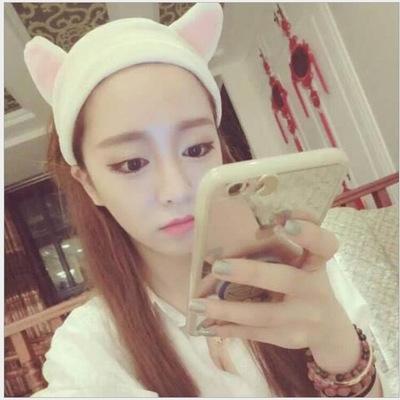 Jing Tian aynı stil kedi kulak yüz saç Eşarp bandı saç bandı yıkama kozmetik aksesuarlar fular hediye Iz1aH