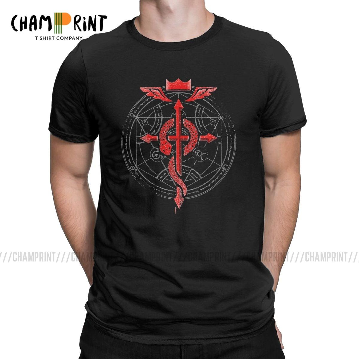Fullmetal Alchemist T-Shirts für Männer Bruderschaft Stolz Anime Elric Edward lustigen T-Shirt O-Hals-T-Shirt Geschenk-Idee Tops