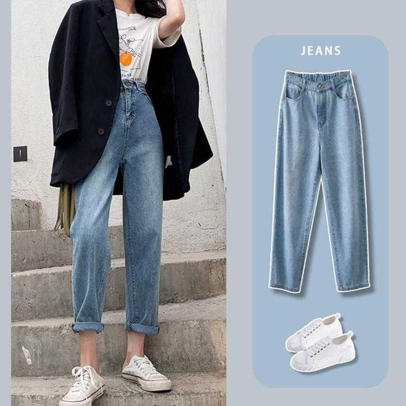 2020 Мода Новые мамы джинсы женщина эластичный пояс высокой талией плюс размер Denim брюки Boyfriend джинсы для женщин Омывается Хлопок
