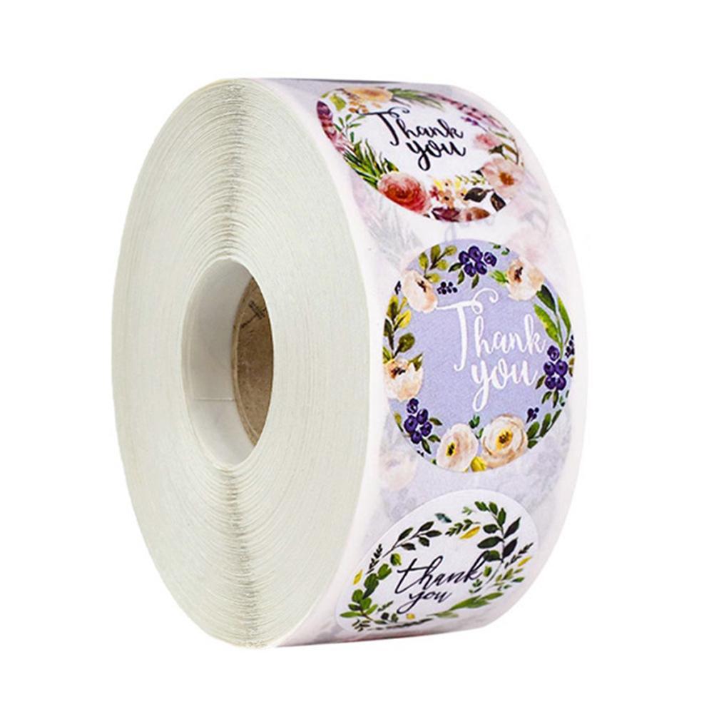500pcs / рулон цветочные наклейки ручной работы Спасибо мелованная бумага круглая печать этикетки