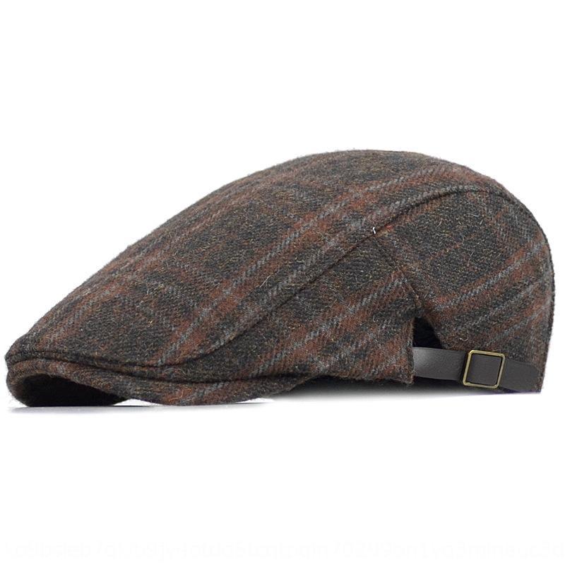Sonbahar ve kış yünlü erkek ileri Boyacı bere bere şapka Kadın İngiliz ekose kap moda ressam şapka rahat