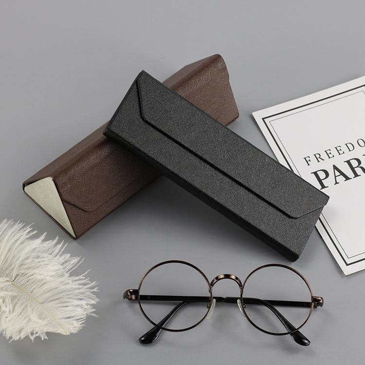 Новый высококачественный бизнес ручной случай очки случай коробка PU кожа сжатия треугольник Складные очки коробка