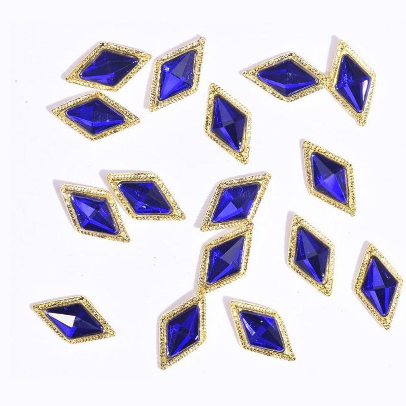 10шт 3D сплава Nail Art Rhinestone Корона / Квадратные / Ромб Кристалл Алмазы Камень ювелирные изделия 2020 Новый Strass Accessoires JE379-JE406
