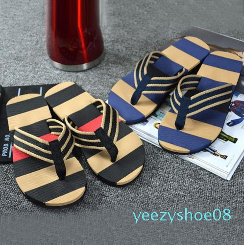 Hot Selling Fashion Men Summer Stripe Flip Flops Shoes Sandals Male Slipper Flip-flops EVA Mixed Colors Flat with Shoes 2020 y08