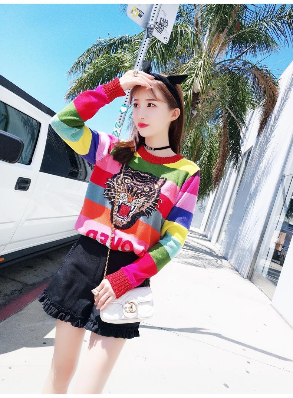 1120 2019 Pull d'automne à manches longues à manches à manches d'équipage Pullove Lettre Marque Même Style PROM Mode Mode Luxe Vêtements Yashi