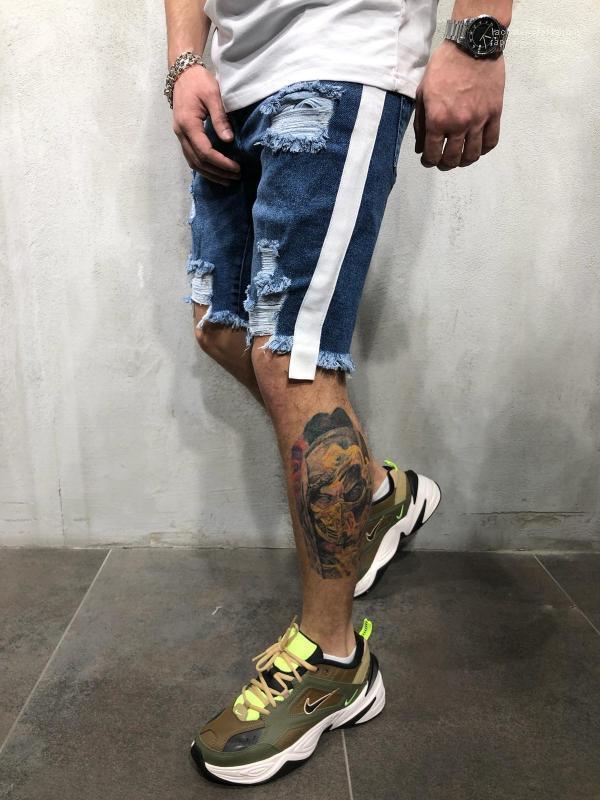 Çizgili Şort Erkek Biker Hiphop Şort Yaz Yeni Erkekler Jean Şort Moda Yarım dökümlü Ripped