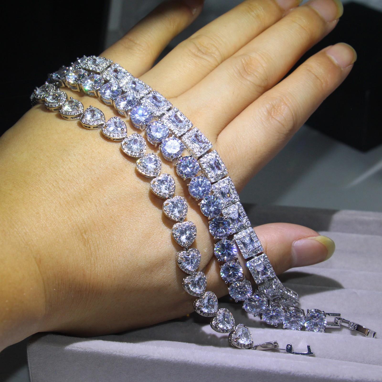 مجوهرات فاخرة 3 نمط فيكتوريا التسلق 925 فضة كاملة الأميرة قص الأبيض توباز CZ الماس رومانيا الزفاف سوار للنساء