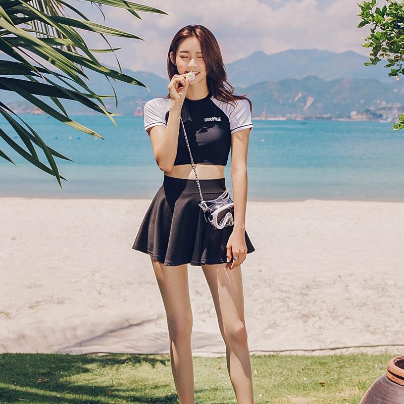 pJxPj bianco due nuovi pezzi gonna sport delle donne bikini nero costume da bagno e moda costume da bagno sexy bikini di dimagramento coreana