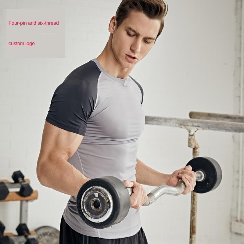 pNPDL Esportes de manga curta da aptidão T-shirt tops de meias coágulo yoga calças apertadas dos homens calças apertadas Top calças justas de mangas curtas-shaping corpo fi xbnfa