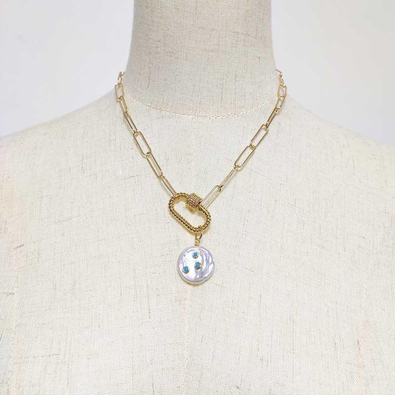 2020 nouvelles perles d'eau douce collier pendentif perle incrusté de cadeaux chaîne d'or couleur punk bijoux faits à la main pierres bleu choker