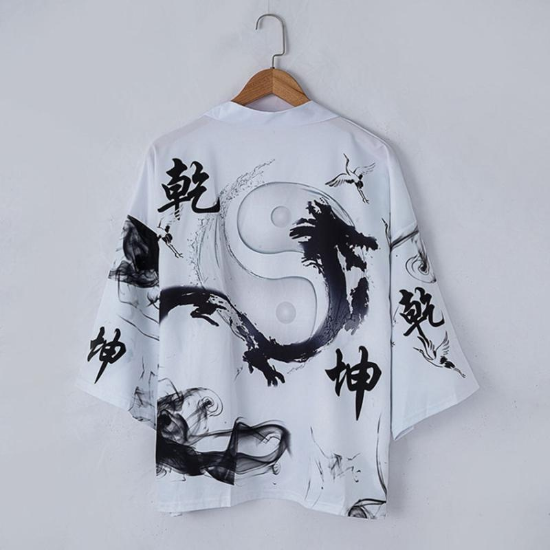 Лето Сыпучей рубашки Топы Повседневного Женщина Мужчина Всплеск чернила для печати Coat японской традиционного Harajuku Кимоно Кардиган мода Streetwear
