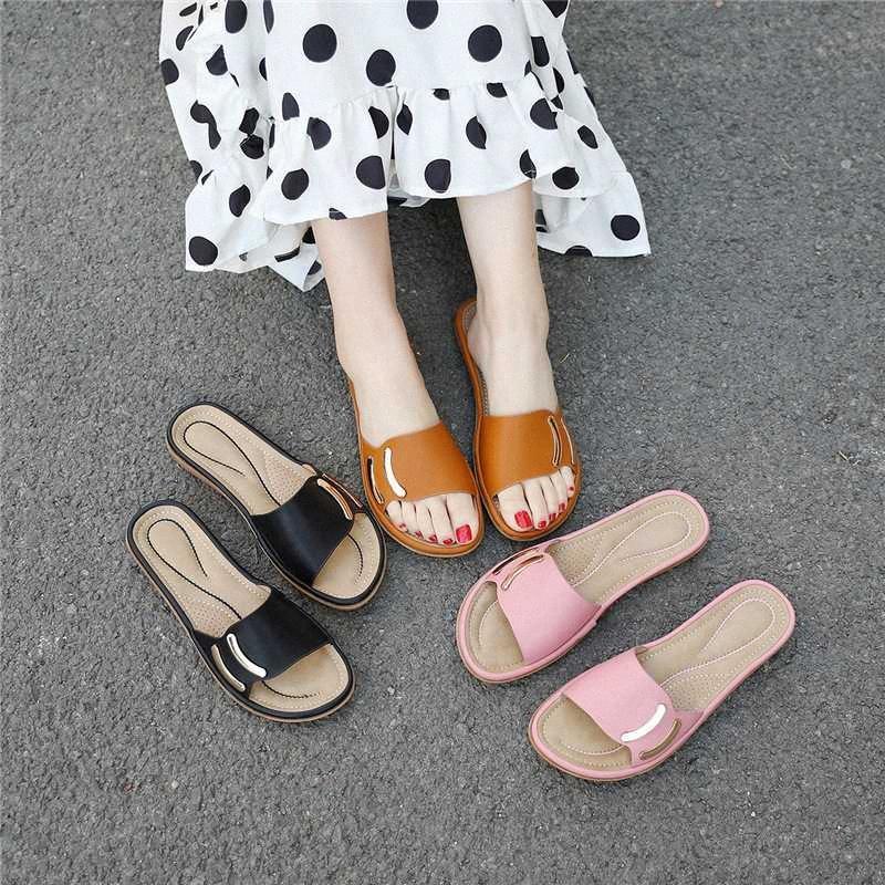 2020 neue große Größe Damen Schuhe Sandalen und Pantoffeln flache Ferse nicht Beleg-Design Mode-bequeme beiläufige Strand Pantoffeln Jungen Slipper XIix #