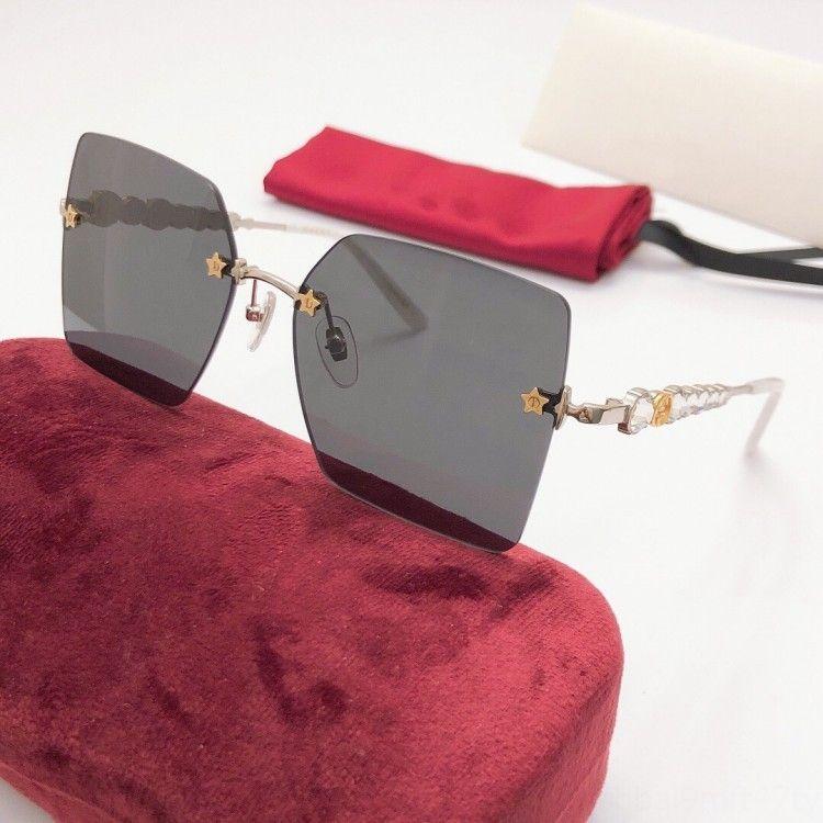 2020 New Fashion Square rahmenlos Frauenfünfzackigen Stern Diamant Sonne Sonnenbrille Kristall GG0644 übergroßen ultra-light Sonnenbrille kdWvd kd