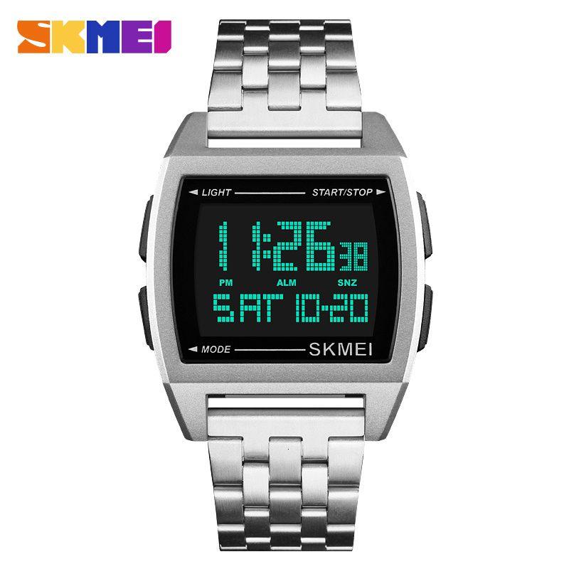 LED-Digital-Uhr-Mann-Sport-Uhren der Männer Rgio Masculino rjes Stainl Stahl militärischer wasserdichte Armbanduhr SKMEI