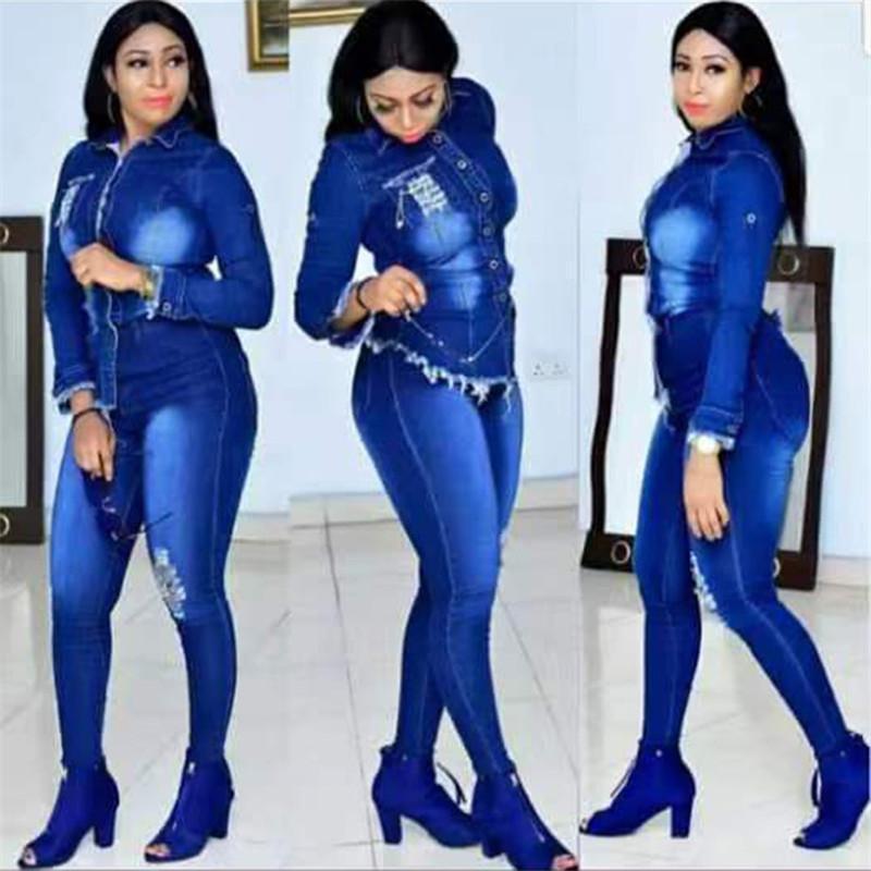 Frauen Jean Set Fashion Solid Color Langarm Ripped Zweiteiler Hose beiläufige Frauen-Herbst-Klage-20FW