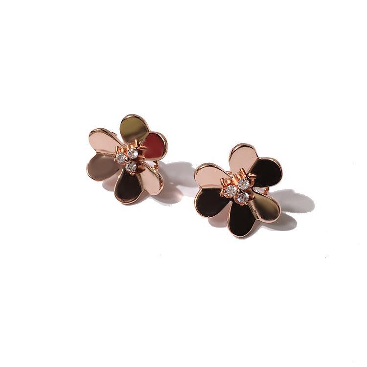 Exquisitos pendientes de la manera joyería del diseñador Pendientes Trifolium brillantes aretes de plata por mayor aumentaron de diseño de oro regalo de cumpleaños primera