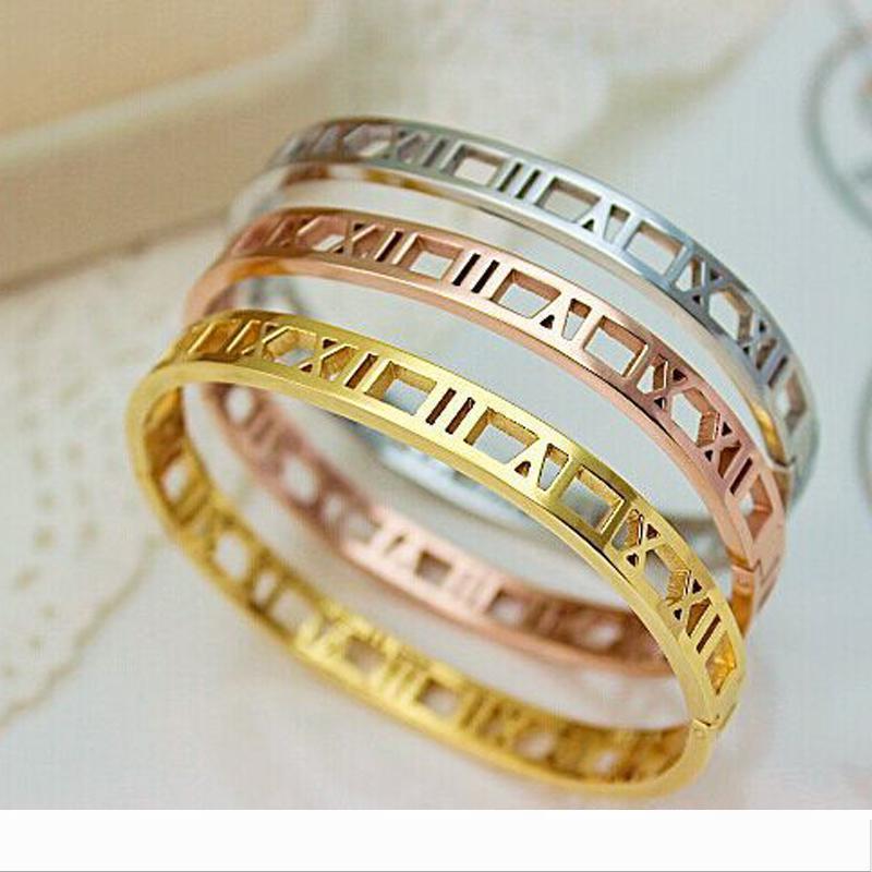 Designer hommes et les femmes en acier inoxydable or rose Couples couleur Bracelet Sculpture romaine numéral amant Cuff Bracelet Weddin