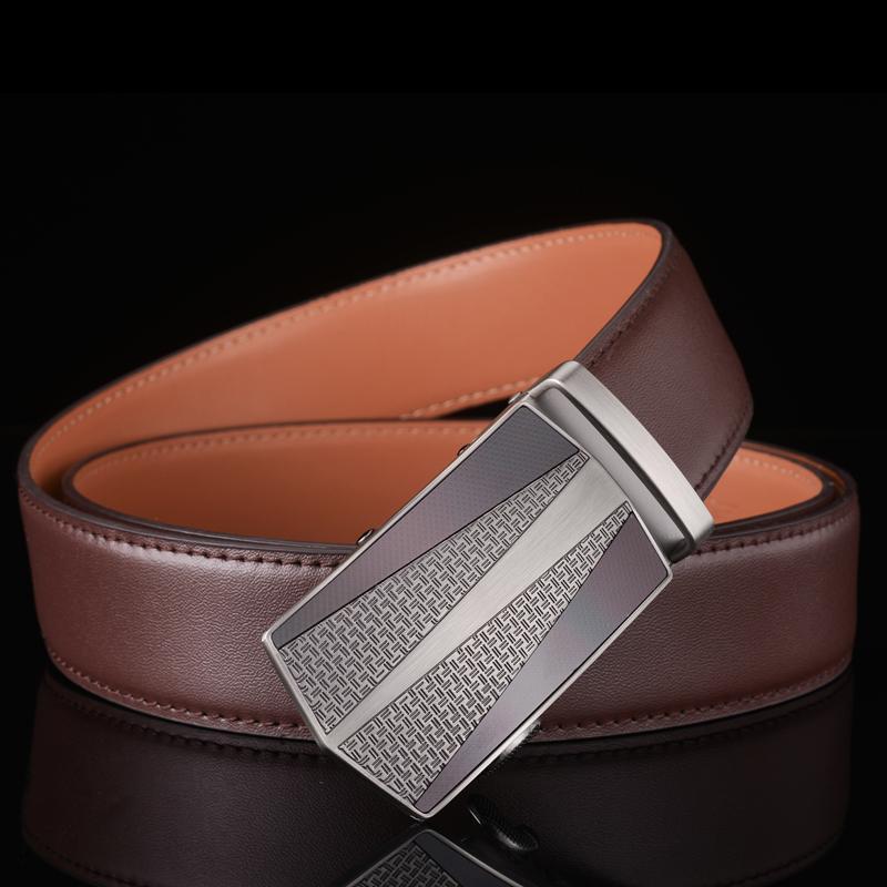 Plyesxale los hombres de la correa de 2020 automática hebilla del cinturón de los hombres Cinturones de cuero genuino para los pantalones vaqueros Ceinture Homme Luxe Marque alta calidad G18
