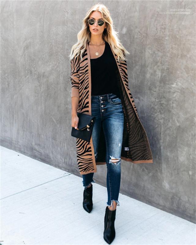 Lüks Moda Hırka Uzun Kniter Uzun Kollu Casual Sonbahar Triko Coats Dalga Desen Tasarımcısı Bayan Triko