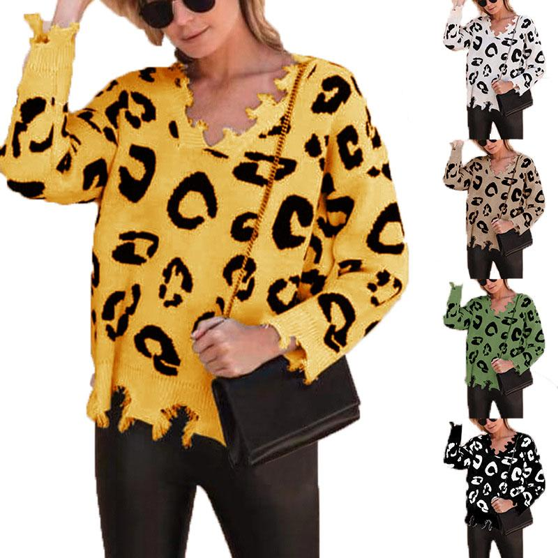 Autumn Winter Leopard Sweaters Women's Fashion Long Sleeve T-Shirt V-Neck knitted sweater Clothes