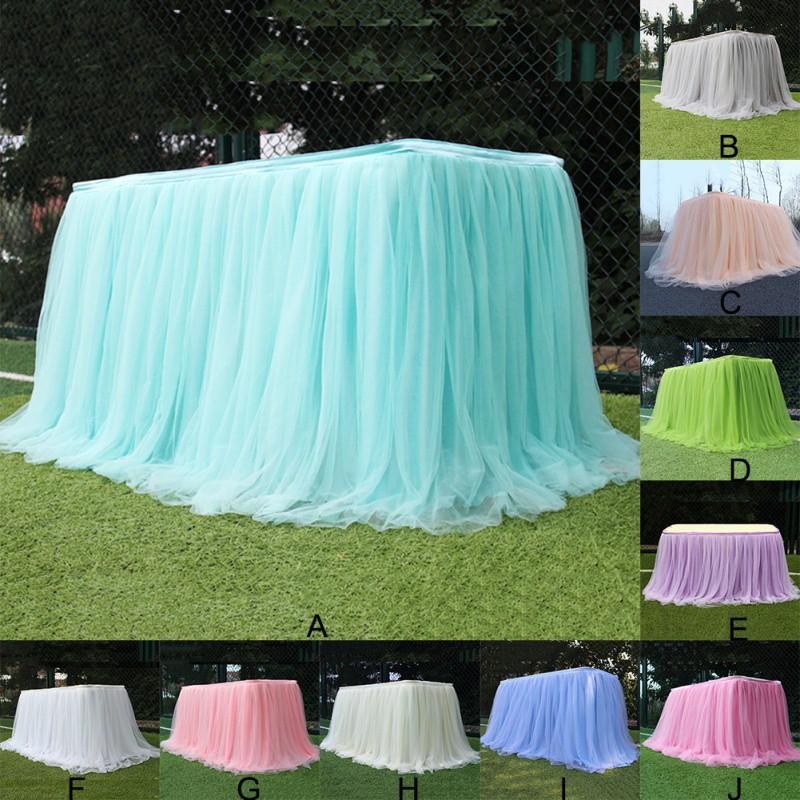 De haute qualité Tutu Jupe de table Tulle Tissu pour mariage Belle Parti Déco Table textile pour la maison Jardin Fournitures Nappes