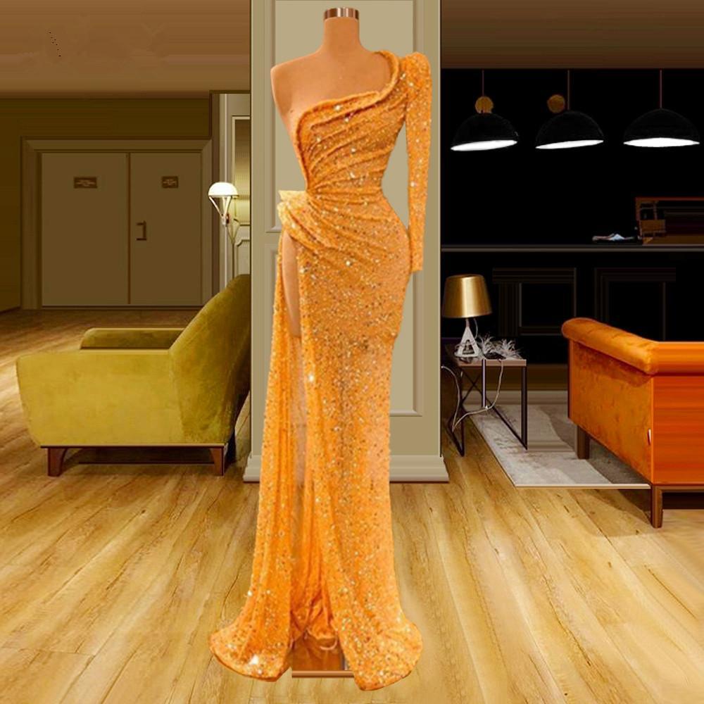 Yeni Yüksek Moda Altın Denizkızı Gelinlik Modelleri 2020 Seksi Boncuk Kadınlar Partisi Elbiseler Akşam Giyim Kristalleri Yarışması Elbiseler Robe Longue