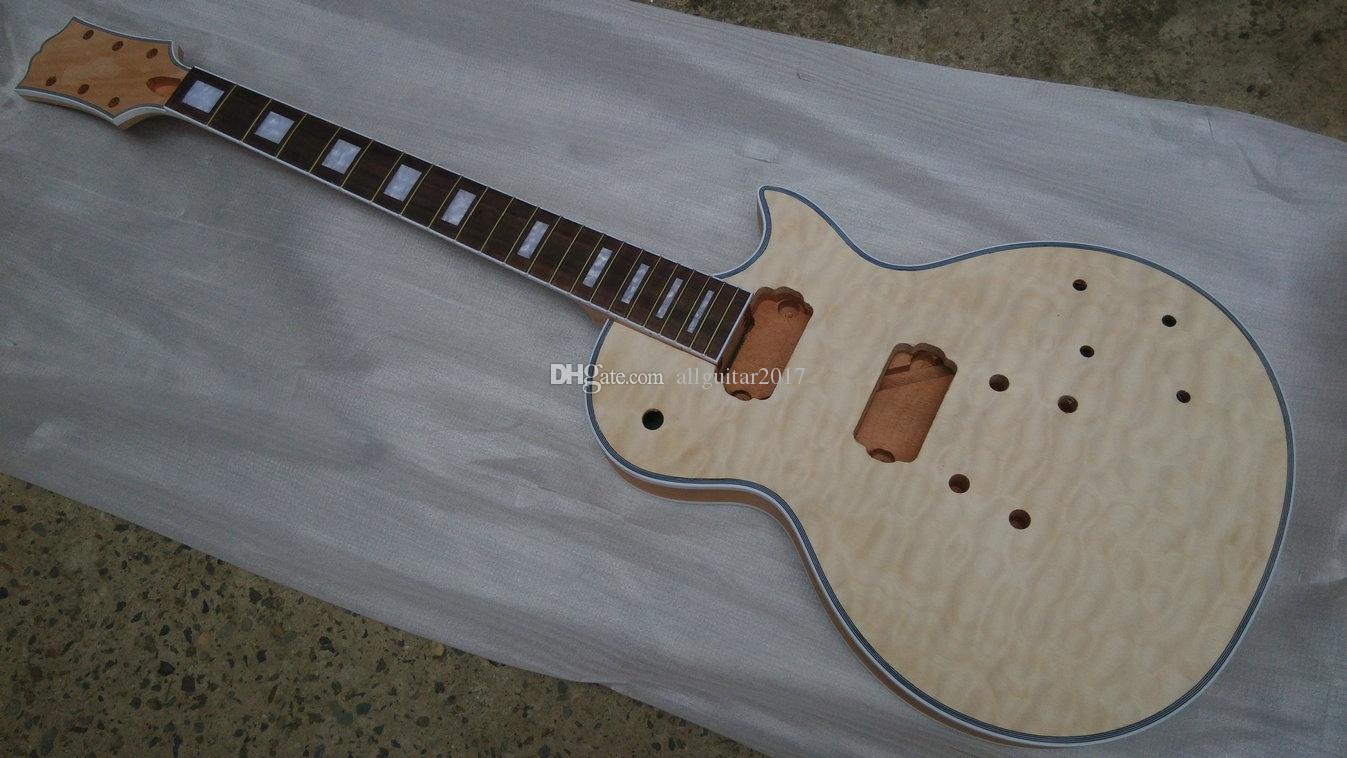 مجموعات مخصصة لم تنته الغيتار الماهوجني الجسم مبطن القيقب الأعلى Soild الجسم المفكك الكتريك جيتار