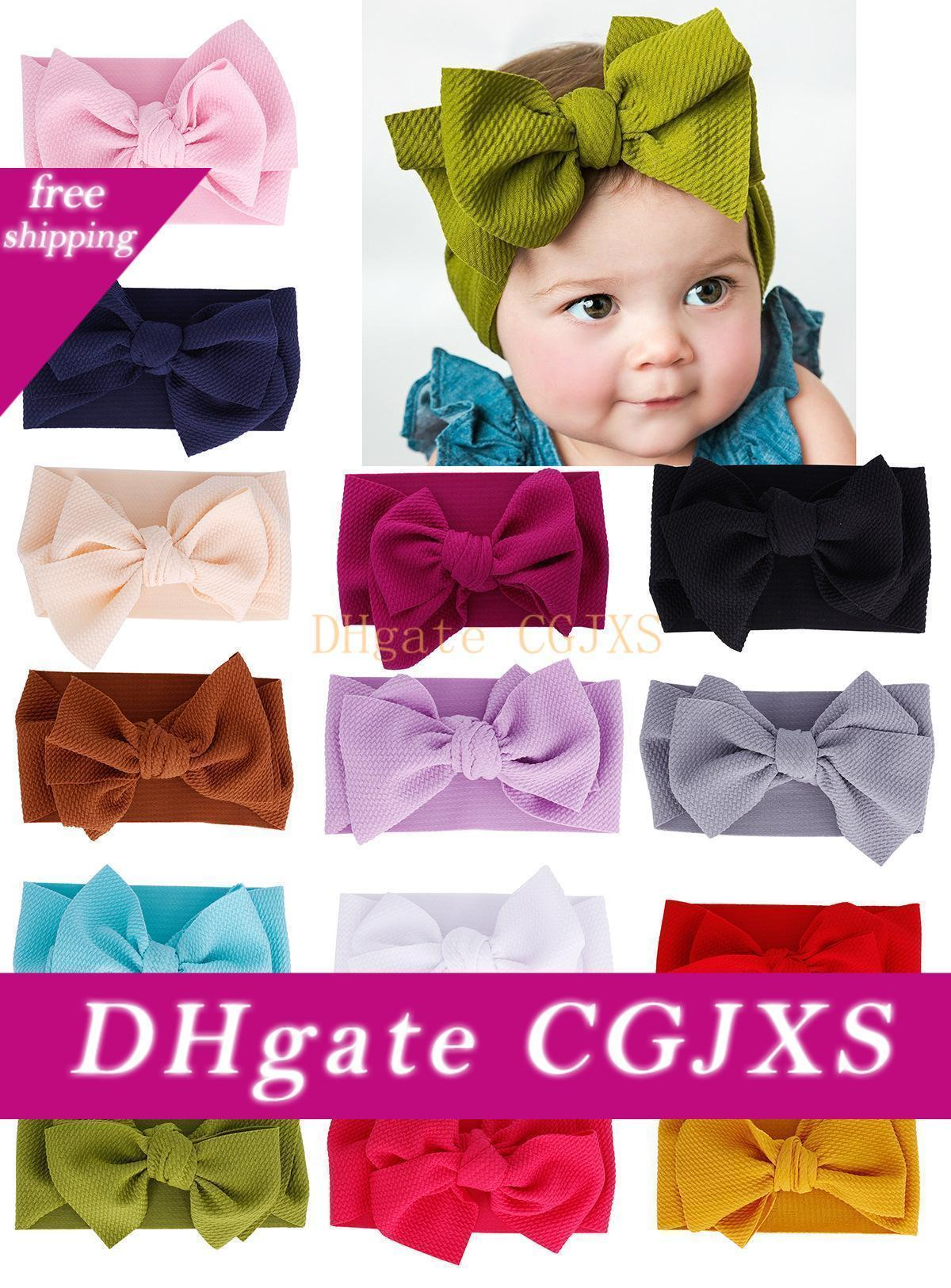 14color Fit All Baby Large Bow Girls Headband 7inch Big Bowknot Headwrap Kids Bow For Hair Cotton Wide Head Turban Infant Newborn Headbands